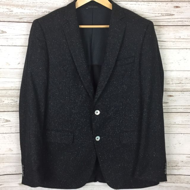 HUGO BOSS Mens Wool Blazer 40R Black 2-Button Sport Coat Hutsons2 Stretch Fit | eBay