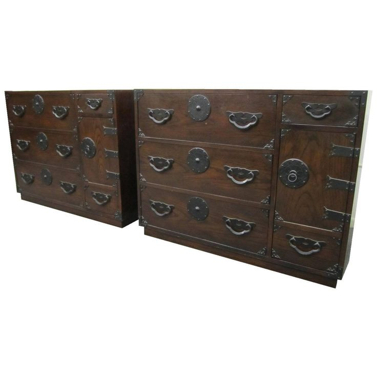 Exciting Pair of Baker Modern Asian Tansu Chest Cabinets, Mid-Century Modern | From a unique collection of antique and modern cabinets at https://www.1stdibs.com/furniture/storage-case-pieces/cabinets/