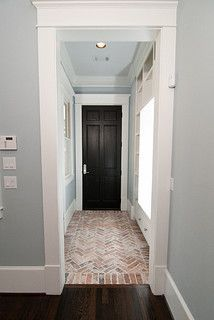 Love farmhouse brick flooring for an entry way or laundry room. This will definitely be in my home.