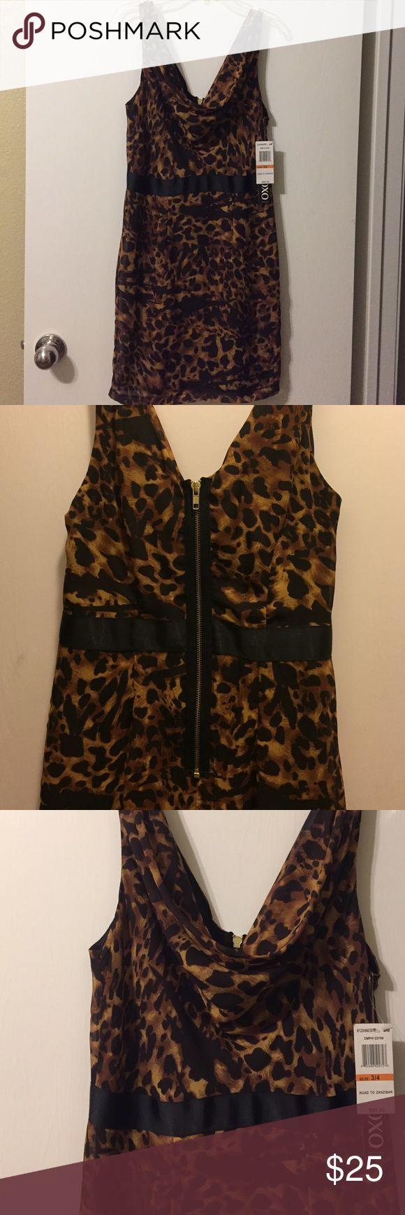 New XOXO Dress Brown cheetah dress with a metal zipper. XOXO Dresses Mini
