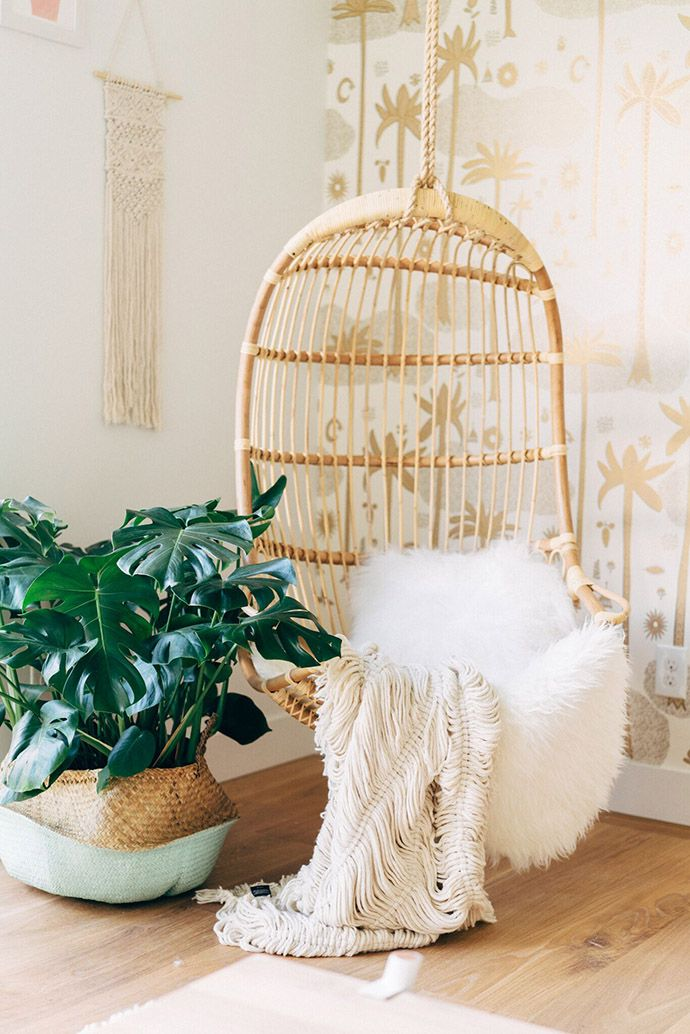Natural details | Hanging Rattan Chair via Serena & Lily | Image via Glitter Guide