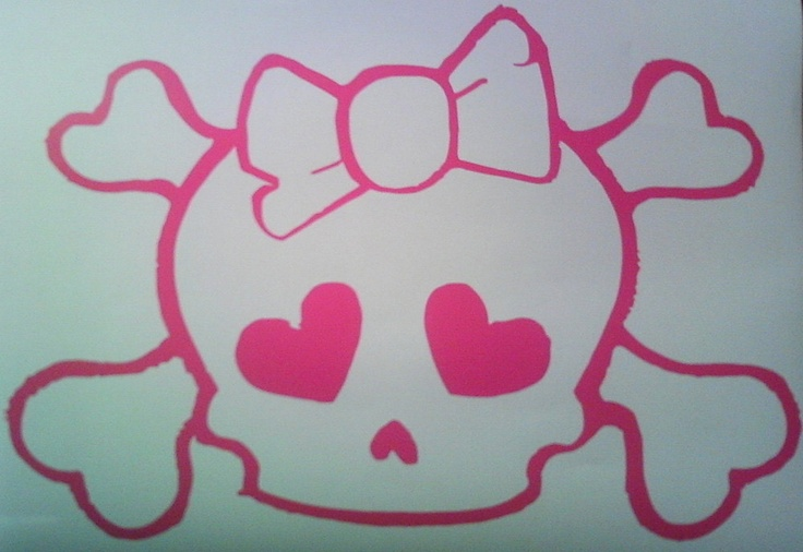 Skull with Bow wall decal removable sticker. $7.94, via Etsy.