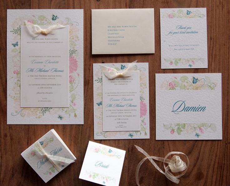 Floral Wedding Stationery - Summer Garden • Day Invite • Evening Invite • RSVP Card with pre-printed envelope • Table Name Card • Place Name Card