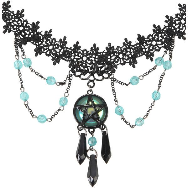 Hot Topic Teal & Black Pentagram & Crystal Lace Choker (27 RON) ❤ liked on Polyvore featuring jewelry, necklaces, chokers, accessories, multi, crystal necklace, crystal charms, chain choker, lace choker necklace and beaded choker