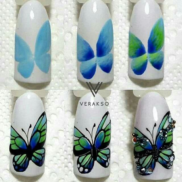 Greenish ombre butterfly one stroke nail art