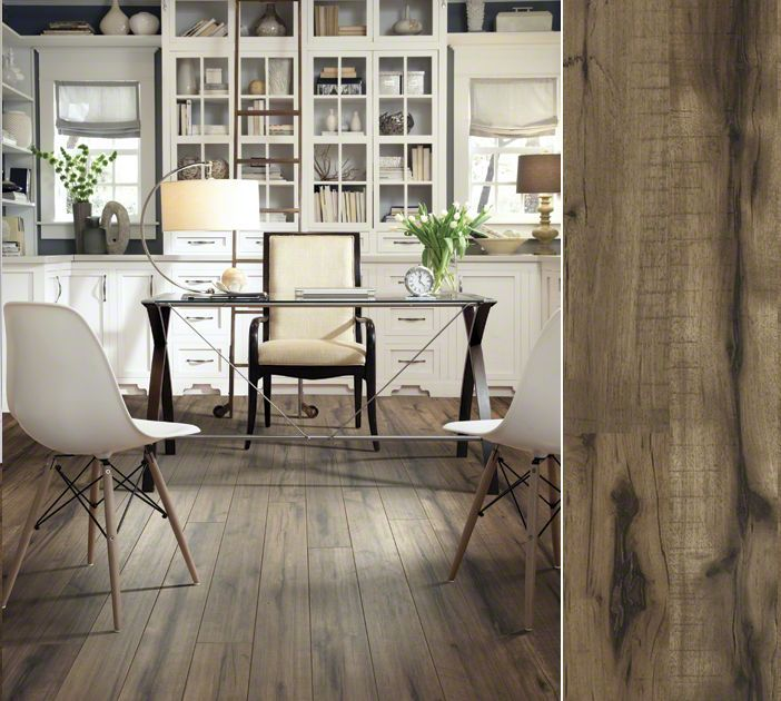 shaw laminate in a gorgeuos hand hewn visual style timberline color peavey grey office spaceshome officelaminate flooringcraftsman