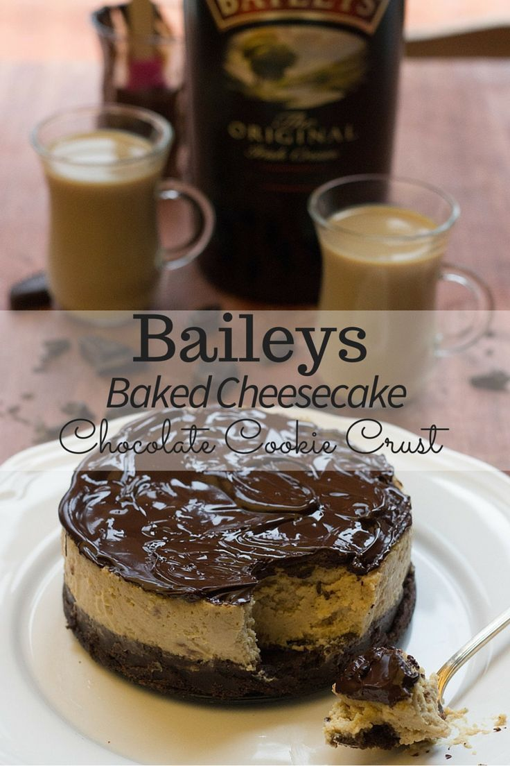 Baked Baileys Cheesecake (topped with a rich, decadent Chocolate Ganache) on top of a 2-ingredient chocolate cookie crust! Delicious!! Recipe by http://FlavoursandFrosting.com