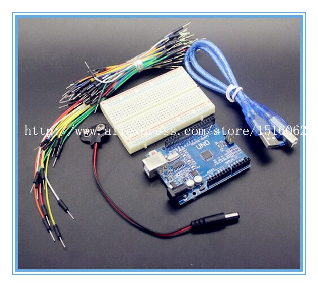 Starter Kit for arduino Uno R3 - Bundle of 5 Items Uno R3 Breadboard, Jumper Wires USB Cable and 9V Battery Connector UNO R3 kit #Affiliate