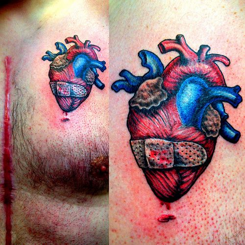 20 best group heart tattoos images on pinterest heart for Band aid tattoo