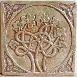 Relief carved, 6x6 Celtic shamrock tile, 3\/8 thick. This tile has a notch in the back for easy hanging and can also be installed along with a