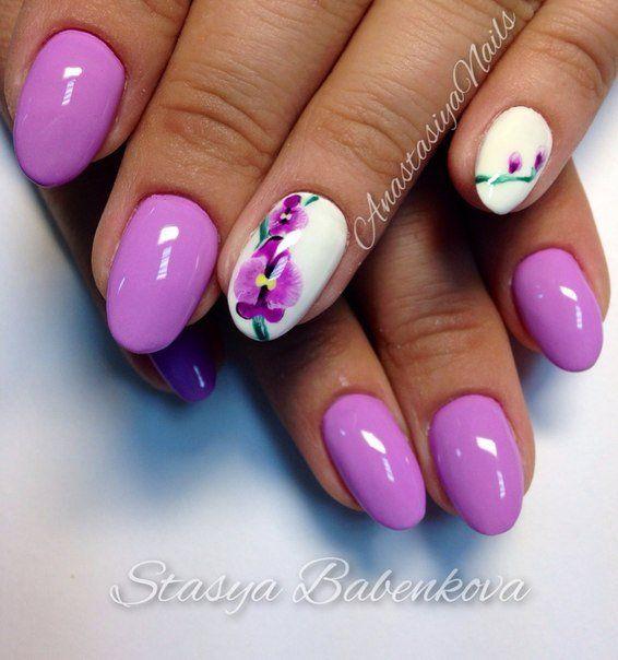 Bright shellac, Bright summer nails, flower nail art, Nails for spring dress, Orchid nails, Oval nails, Purple nails, Splashy nails