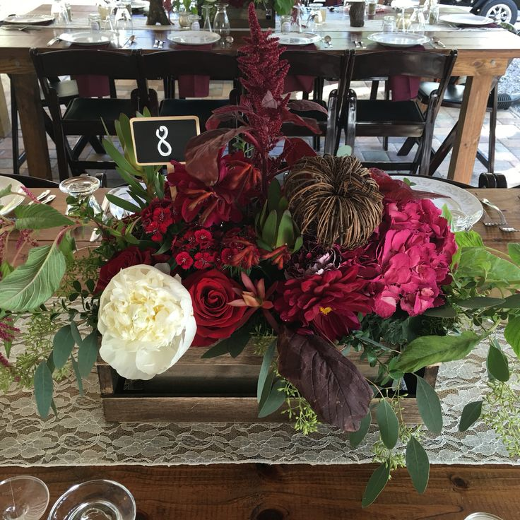 Wine colored crate centerpiece fall inspired | The White ...
