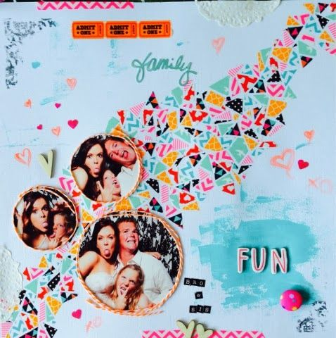 Family Fun LO scrapbook page. Bright mosaic washi tape Photobooth siblings watercolours