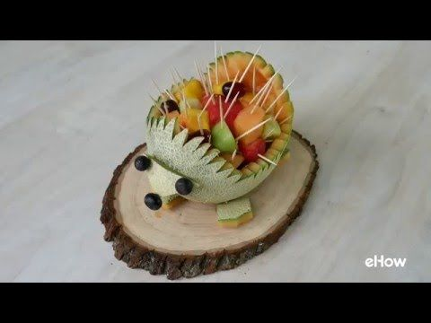 How to Make a Hedgehog Out of a Cantaloupe: Step-by-step instructions for cutting a cantaloupe into a cute hedgehog serving piece for fruit slices.