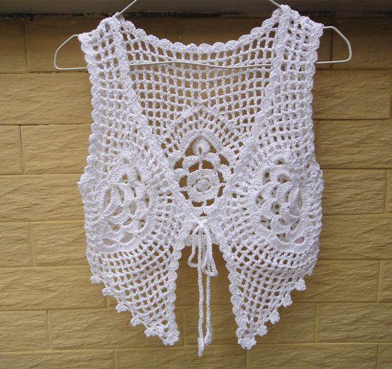White Crochet Tie Front Crop Top Gypsy Vest by TinaCrochet2016