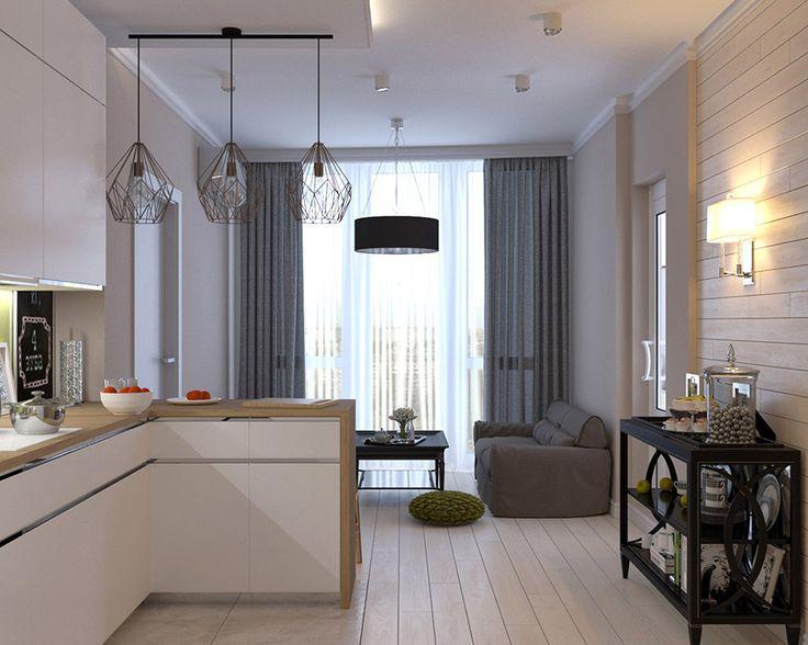 Кухня-студия в сочетании холодного и теплого белого, выбеленного и натурального дерева, стилистического смешения, имея несколько темных акцентов, -  сохраняет разнообразие и не приедается.