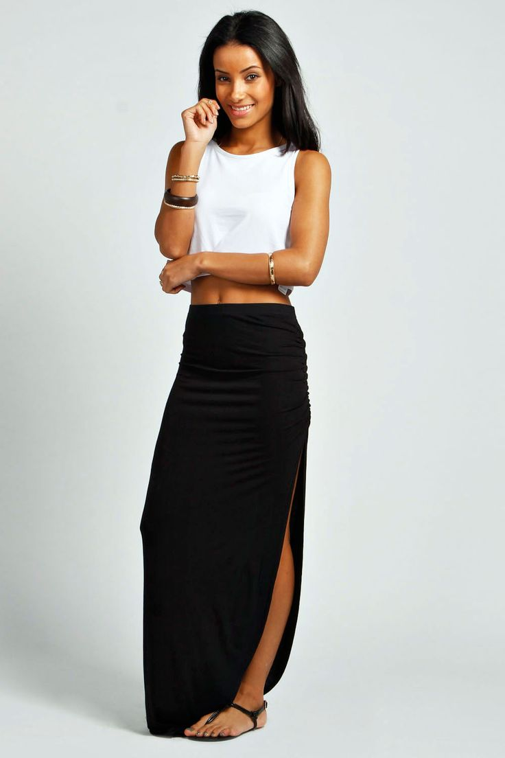 Ruched Side Jersey Maxi Skirt Boohoo In 2019 Fashion