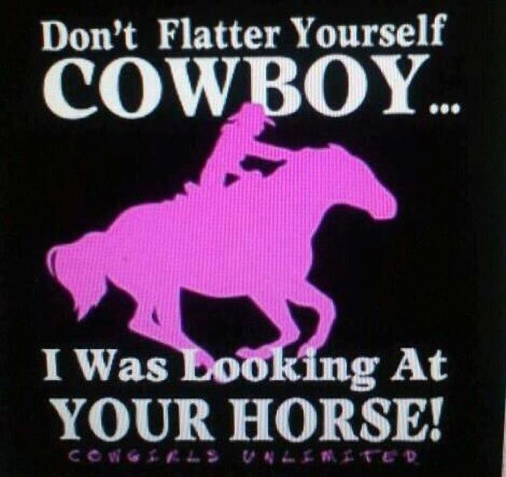 ***love***: Hors Stuff, Horsesmi Obsession, Cowgirl Life, Dont Flatter Yourself Cowboys, Hors Quotes, So True, Country Life,  Dust Covers, T Shirts