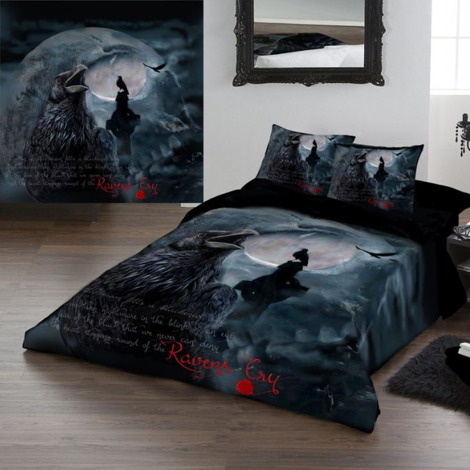 Gothic Bedding Set Ravens Cry King Size Duvet Set Duvet