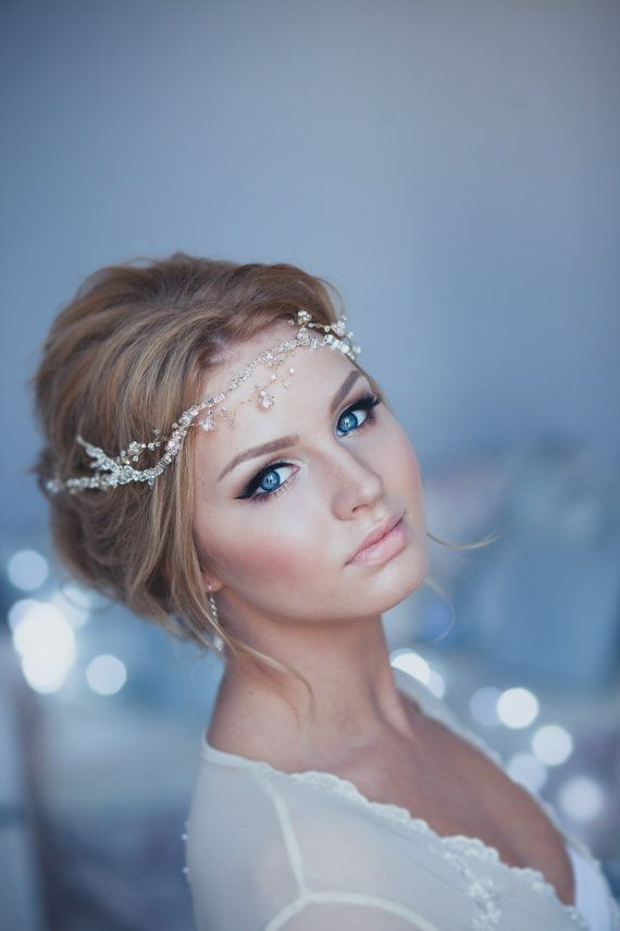 Crystal Decorated Wedding Bridal Hair Vine Bridal by EnzeBridal