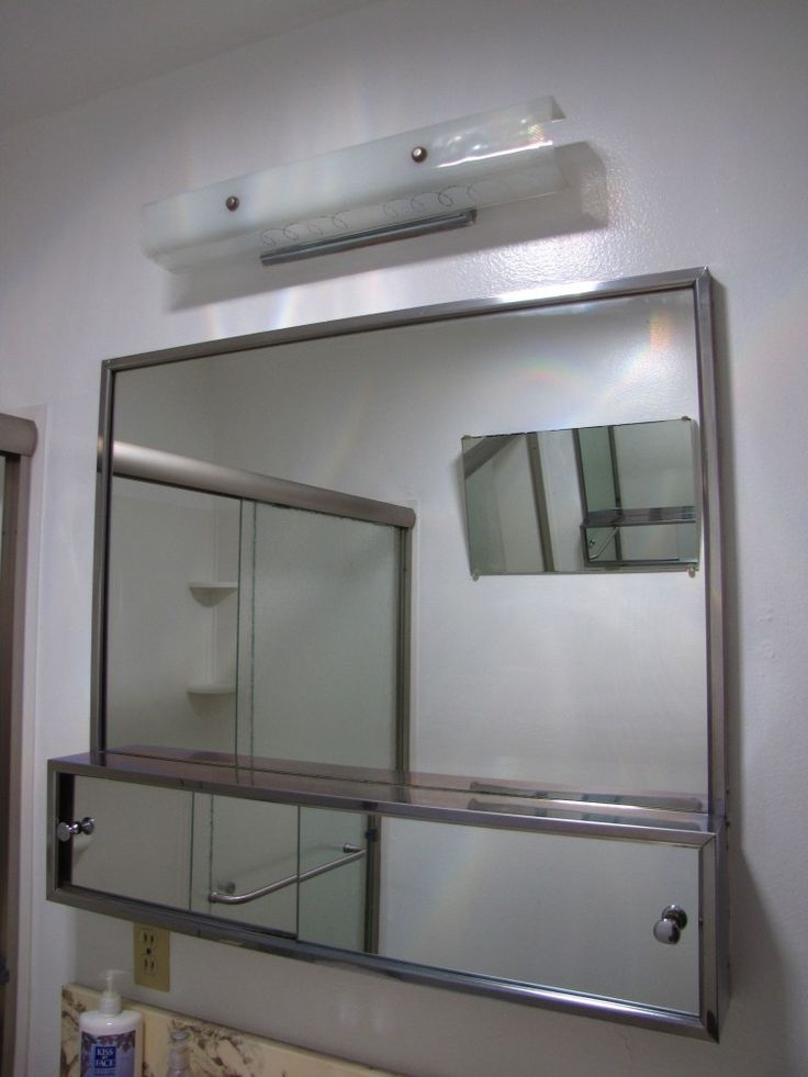 Awe Inspiring Bathroom Mirror Cabinets With Stainless Frames And Cool Double Doors Panels As Well Cute Fixrures Wall Lights On White