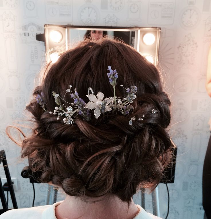 Loose hair up with lavender and crystals