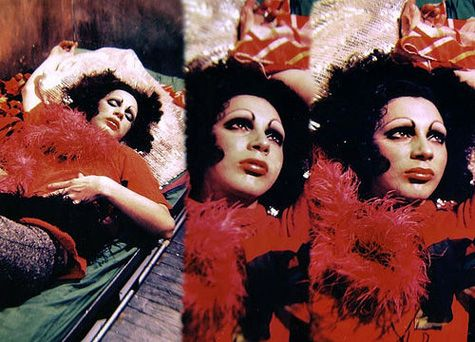The Divine Holly Woodlawn in a still from Warhols film Trash. My personal favorite.