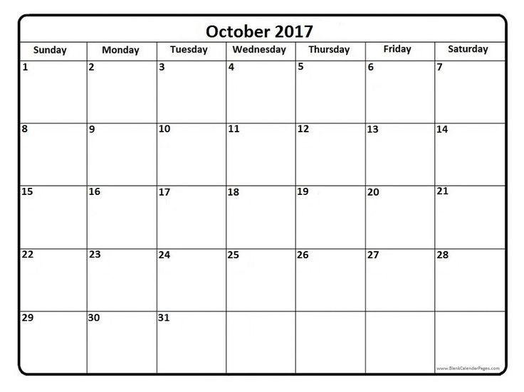 21 best October 2017 Calendar images on Pinterest | Printable ...