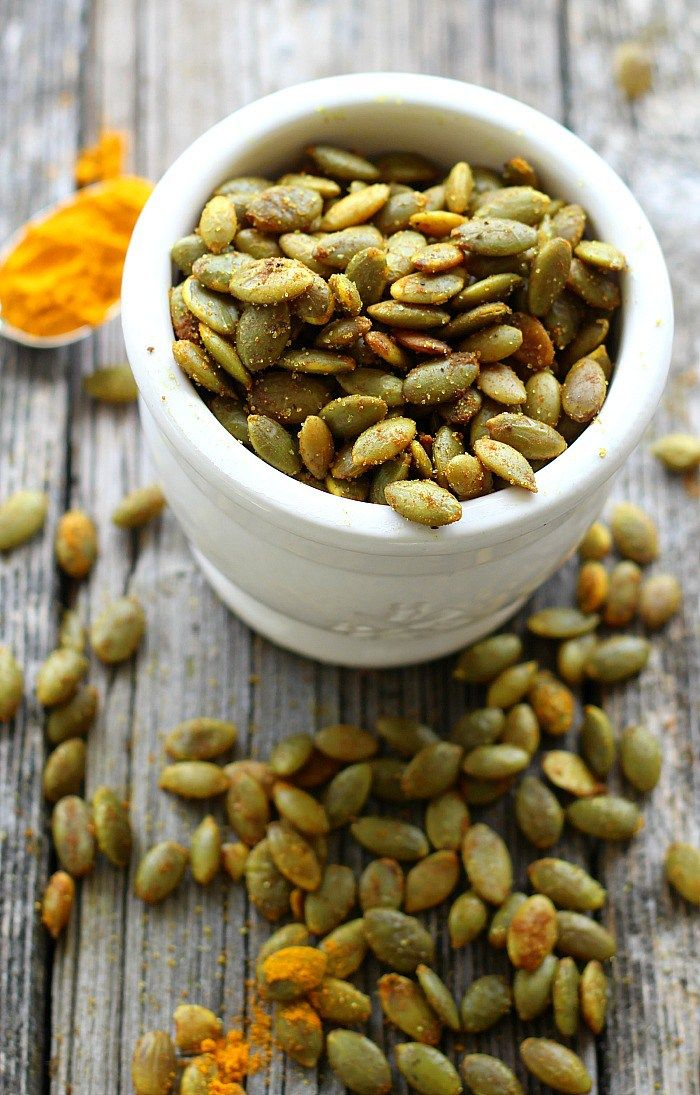 Turmeric Roasted Pumpkin Seeds combine healthy ingredients for a quick, irresistible snack or perfect salad topping. Sprinkle on your favorite vegetables for crunchy goodness.