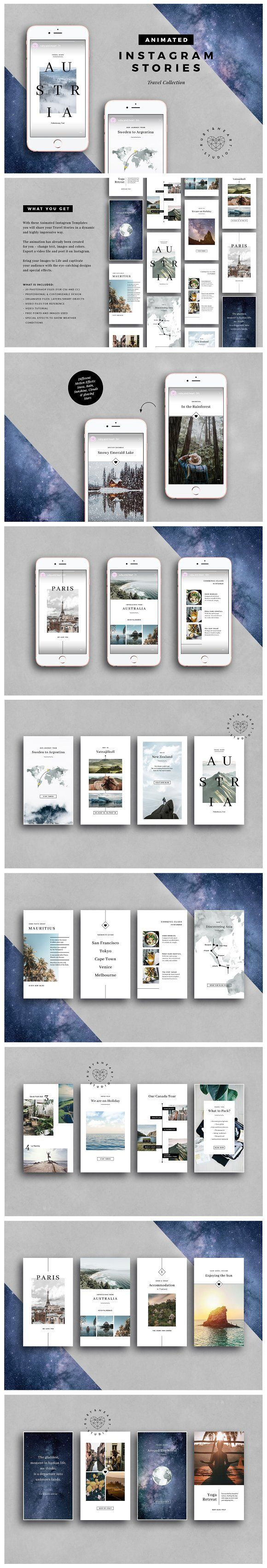 ANIMATED Travel Instagram Stories by Ruby&Heart Studio on @creativemarket