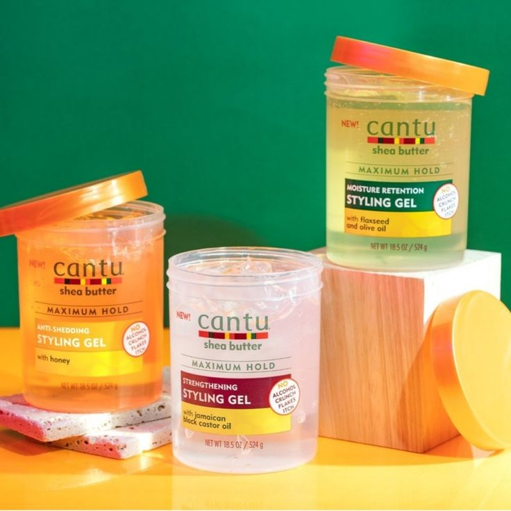Cantu styling gel, three different products for any hair
