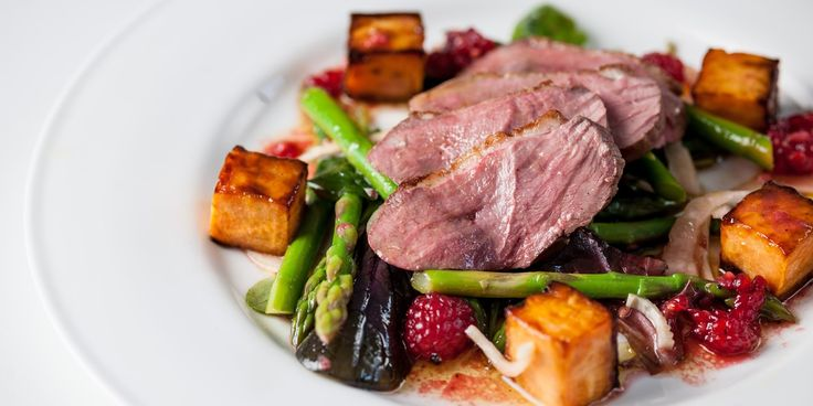 A supreme duck breast salad recipe from Graham Campbell comes served with asparagus, pickled fennel and sweet potato #fancyfood