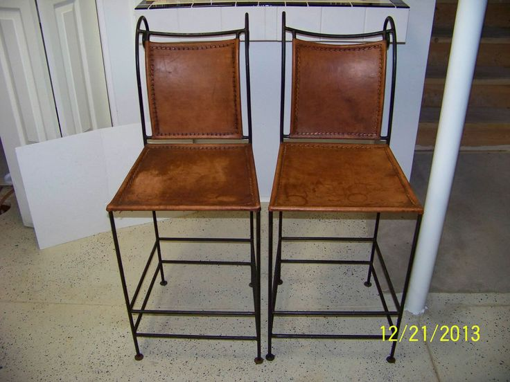 Wrought Iron And Leather Bar Stools Set Of 2 Furniture Pinterest Stool