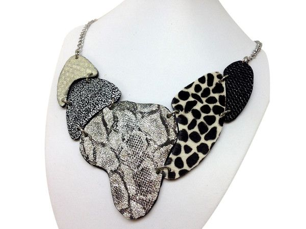 Handmade leather necklace ARMADILLO (silver/cow)