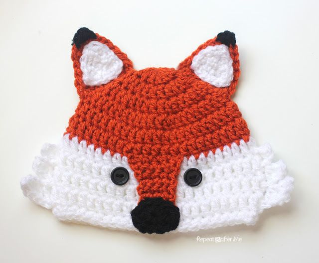 Crochet Fox Hat - Repeat Crafter Me With free pattern for sizes infant to adult
