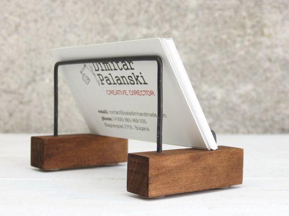 "Business Card Holder ""Vizitak"", Desk Decor, Desk Card Holder, Gift For Boss, Wooden Card Holder, Business Card Stand, Office Accessories"