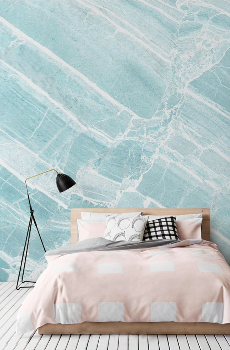 Loving these icy blue tones! This faux marble wallpaper is truly mesmerising, pearly white veins run through sky blue hues. Matched with pastel pink, this wallpaper can make your bedroom dreams come true!