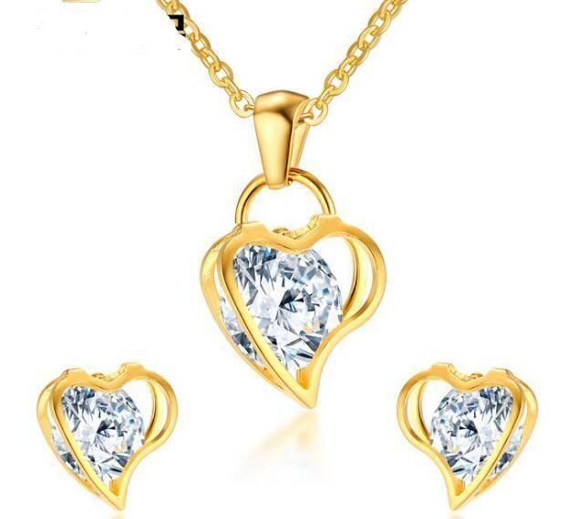 Ladies Gold Stainless Steel Crystals Heart Pendant Necklace + Earring Studs Set