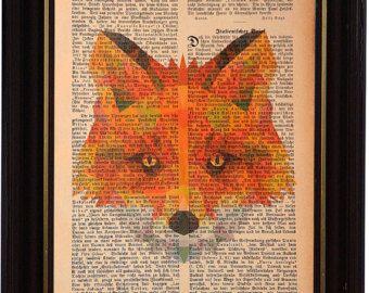 Fuchs Buchdruck, Vintage Buchseite bedruckt, Kunstdruck