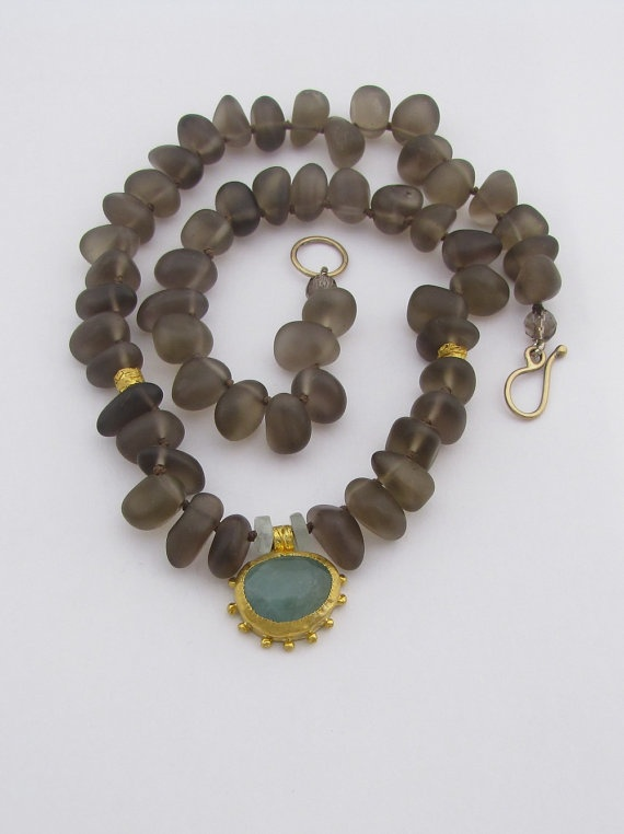 Smoky Topaz & Aquamarine Gold Necklace  24k Gold Necklace by Omiya