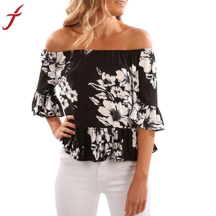 Summer Off Shoulder Blouse Women Vest Tops Short Sleeve  Flare Flower Print Black