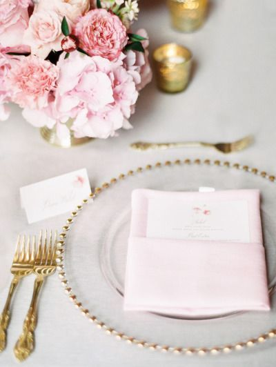 Elegant gold and pink: http://www.stylemepretty.com/2015/03/02/pink-gray-downtown-cincinnati-wedding/ | Photography: Clary Pfeiffer - http://www.claryphoto.com/: