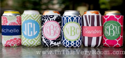 monogrammed koozies would make a great bridal party gift