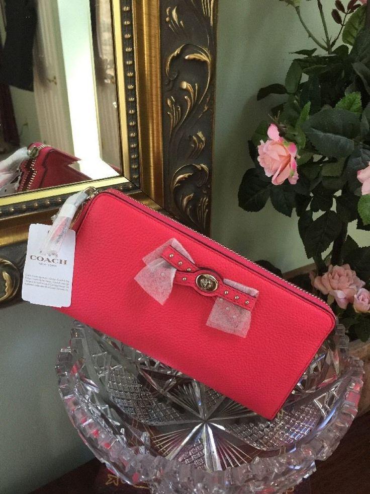 Coach Bow Turn-lock Accordion Zip Around Wallet Amaranth Pink NEW 53903 $250 W1  | eBay