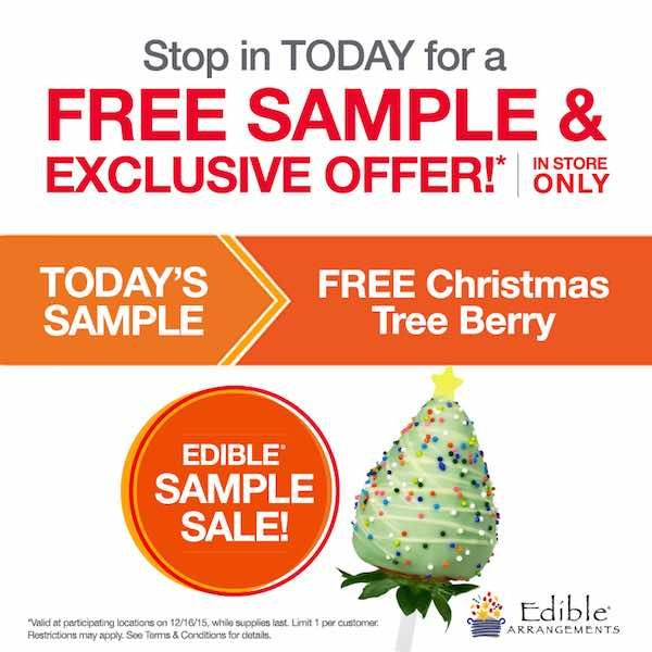 Give that special someone in your life a little something extra today! Get a FREE Christmas Tree Berry!Just head over the the nearest Edible Arrangements location and mention this offer! It's that easy!