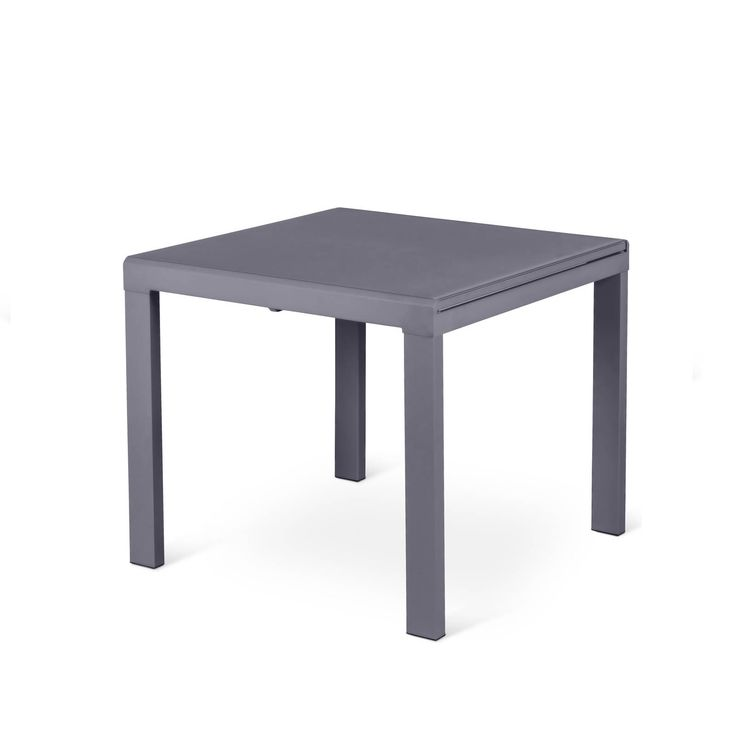 Italian dining table Trio with metal legs and glass top, small square at My Italian Living Ltd