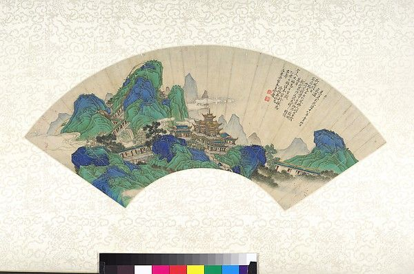 Xu Yang was recruited as a court painter in 1751 and became one of the Qianlong Emperor's leading artists, culminating with his being selected in 1764 to execute the Qianlong Southern Inspection Tour. This intimate fan painting shows Xu working in a miniaturist style and a decorative blue-and-green technique that differs markedly from his typically grand imperial commissions