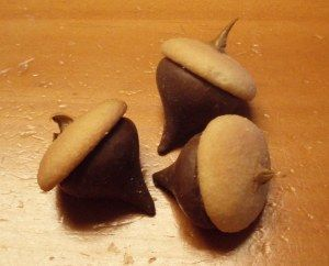 ACORN snack - Put a small amount of frosting on the bottom of a mini Nilla Wafer and place the cookie on the bottom of a Hershey Kiss. Add a dab of frosting to the top. Yes, it's that simple