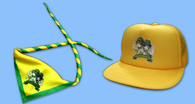 ボーイスカウト、富士通スカウトクラブ様が製作したオリジナル、ネッカチーフ、キャップ、帽子の紹介
