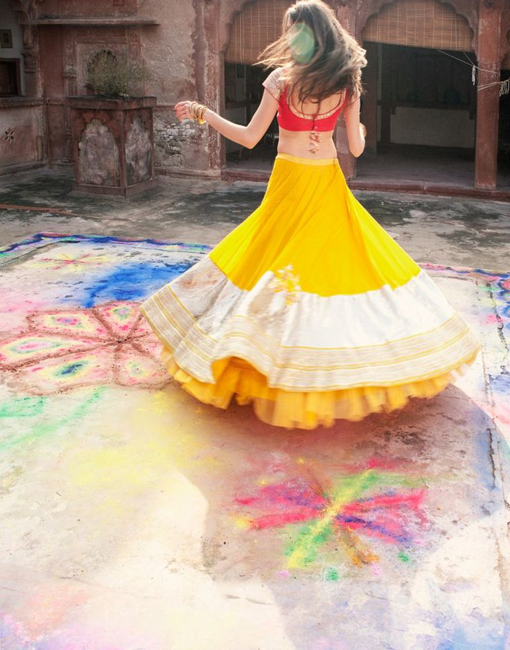 Love the colors in this ghagra choli : note to self... Bright coulours like mehandi yellow, fuscia look graet during daytime/ under bright white light